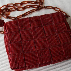 Vintage Woven Burgundy Purse Chain Handle Italy